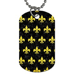 Royal1 Black Marble & Gold Glitter (r) Dog Tag (one Side) by trendistuff