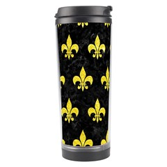Royal1 Black Marble & Gold Glitter (r) Travel Tumbler by trendistuff