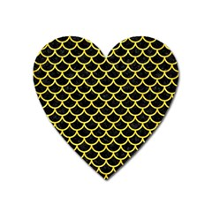 Scales1 Black Marble & Gold Glitter Heart Magnet by trendistuff