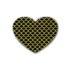 Scales1 Black Marble & Gold Glitter Rubber Coaster (heart)