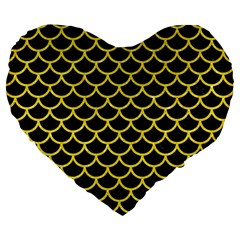 Scales1 Black Marble & Gold Glitter Large 19  Premium Flano Heart Shape Cushions by trendistuff