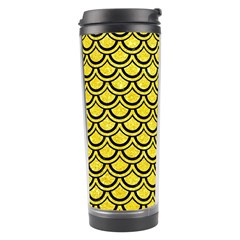 Scales2 Black Marble & Gold Glitter (r) Travel Tumbler by trendistuff