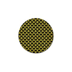 Scales3 Black Marble & Gold Glitter Golf Ball Marker by trendistuff
