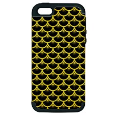 Scales3 Black Marble & Gold Glitter Apple Iphone 5 Hardshell Case (pc+silicone) by trendistuff