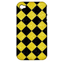 Square2 Black Marble & Gold Glitter Apple Iphone 4/4s Hardshell Case (pc+silicone) by trendistuff