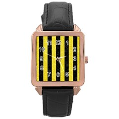 Stripes1 Black Marble & Gold Glitter Rose Gold Leather Watch  by trendistuff
