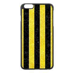 Stripes1 Black Marble & Gold Glitter Apple Iphone 6 Plus/6s Plus Black Enamel Case by trendistuff