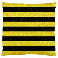 Stripes2 Black Marble & Gold Glitter Large Cushion Case (two Sides) by trendistuff