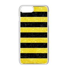 Stripes2 Black Marble & Gold Glitter Apple Iphone 7 Plus White Seamless Case by trendistuff