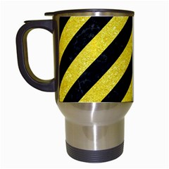 Stripes3 Black Marble & Gold Glitter Travel Mugs (white) by trendistuff