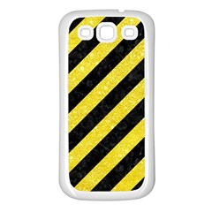 Stripes3 Black Marble & Gold Glitter Samsung Galaxy S3 Back Case (white) by trendistuff