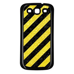 Stripes3 Black Marble & Gold Glitter Samsung Galaxy S3 Back Case (black) by trendistuff