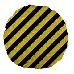 Stripes3 Black Marble & Gold Glitter Large 18  Premium Flano Round Cushions by trendistuff