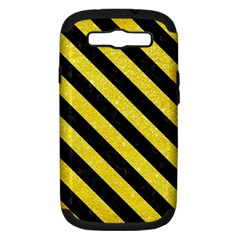 Stripes3 Black Marble & Gold Glitter (r) Samsung Galaxy S Iii Hardshell Case (pc+silicone) by trendistuff