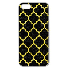 Tile1 Black Marble & Gold Glitter Apple Seamless Iphone 5 Case (clear) by trendistuff