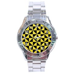 Triangle1 Black Marble & Gold Glitter Stainless Steel Analogue Watch by trendistuff