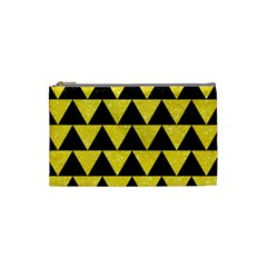 Triangle2 Black Marble & Gold Glitter Cosmetic Bag (small)  by trendistuff