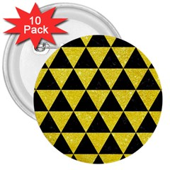 Triangle3 Black Marble & Gold Glitter 3  Buttons (10 Pack)  by trendistuff