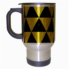 Triangle3 Black Marble & Gold Glitter Travel Mug (silver Gray) by trendistuff