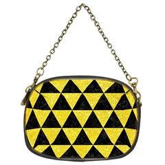 Triangle3 Black Marble & Gold Glitter Chain Purses (two Sides)  by trendistuff