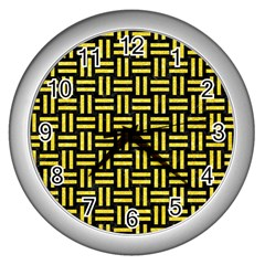 Woven1 Black Marble & Gold Glitter Wall Clocks (silver)  by trendistuff