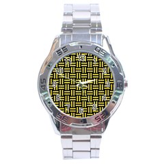 Woven1 Black Marble & Gold Glitter Stainless Steel Analogue Watch by trendistuff