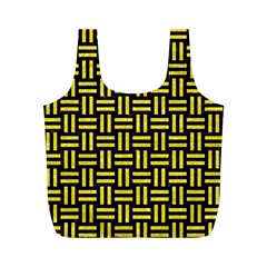 Woven1 Black Marble & Gold Glitter Full Print Recycle Bags (m)  by trendistuff