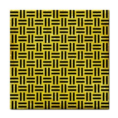 Woven1 Black Marble & Gold Glitter (r) Tile Coasters