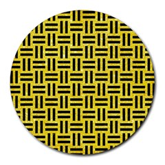 Woven1 Black Marble & Gold Glitter (r) Round Mousepads by trendistuff