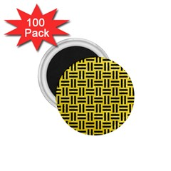 Woven1 Black Marble & Gold Glitter (r) 1 75  Magnets (100 Pack)  by trendistuff