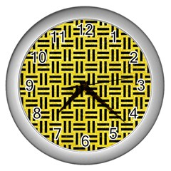 Woven1 Black Marble & Gold Glitter (r) Wall Clocks (silver)  by trendistuff