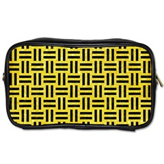 Woven1 Black Marble & Gold Glitter (r) Toiletries Bags 2 Side by trendistuff