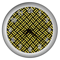 Woven2 Black Marble & Gold Glitter Wall Clocks (silver)  by trendistuff