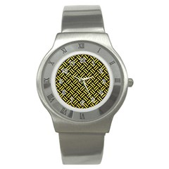 Woven2 Black Marble & Gold Glitter Stainless Steel Watch by trendistuff