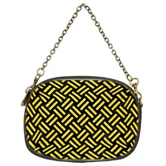 Woven2 Black Marble & Gold Glitter Chain Purses (two Sides)  by trendistuff