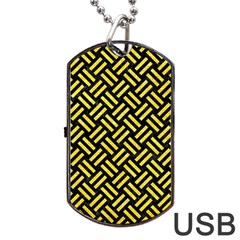 Woven2 Black Marble & Gold Glitter Dog Tag Usb Flash (one Side) by trendistuff