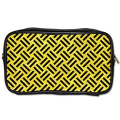 Woven2 Black Marble & Gold Glitter (r) Toiletries Bags 2 Side by trendistuff