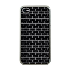 Brick1 Black Marble & Gray Colored Pencil Apple Iphone 4 Case (clear) by trendistuff
