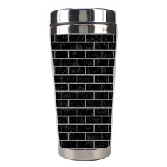 Brick1 Black Marble & Gray Colored Pencil Stainless Steel Travel Tumblers by trendistuff