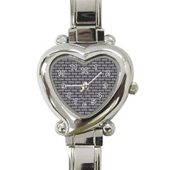 Brick1 Black Marble & Gray Colored Pencil (r) Heart Italian Charm Watch by trendistuff