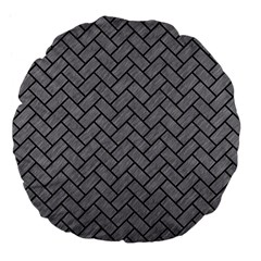 Brick2 Black Marble & Gray Colored Pencil (r) Large 18  Premium Flano Round Cushions by trendistuff