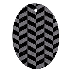 Chevron1 Black Marble & Gray Colored Pencil Ornament (oval) by trendistuff
