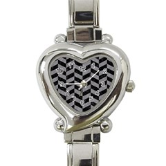 Chevron1 Black Marble & Gray Colored Pencil Heart Italian Charm Watch by trendistuff