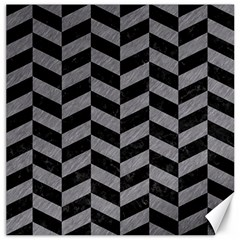 Chevron1 Black Marble & Gray Colored Pencil Canvas 12  X 12   by trendistuff