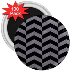 Chevron2 Black Marble & Gray Colored Pencil 3  Magnets (100 Pack) by trendistuff