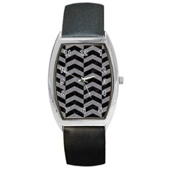 Chevron2 Black Marble & Gray Colored Pencil Barrel Style Metal Watch by trendistuff