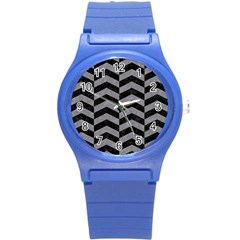 Chevron2 Black Marble & Gray Colored Pencil Round Plastic Sport Watch (s) by trendistuff