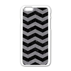 Chevron3 Black Marble & Gray Colored Pencil Apple Iphone 6/6s White Enamel Case by trendistuff