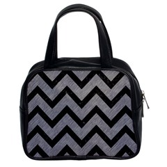 Chevron9 Black Marble & Gray Colored Pencil (r) Classic Handbags (2 Sides)