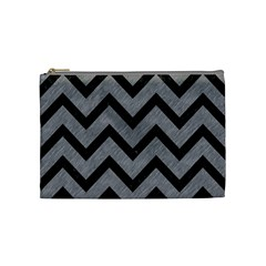 Chevron9 Black Marble & Gray Colored Pencil (r) Cosmetic Bag (medium)  by trendistuff